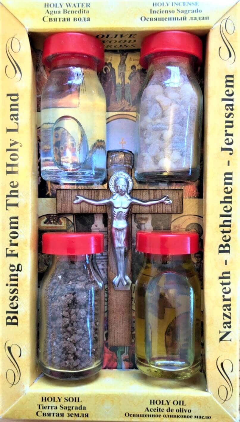 OLIVE WOODS CRUCIFIX, WITH 4 HOLY LAND ELEMENTS